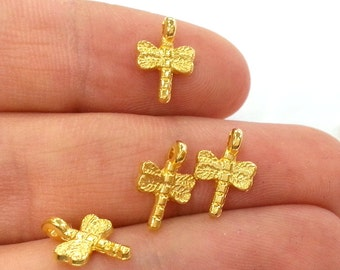 10 Pcs (11x8 mm) Gold Plated  Dragonfly Charms  G2410