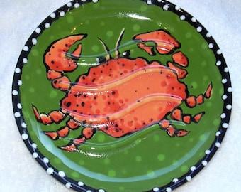Crab Soap Dish, hand painted soap dish, unique soap dish, ceramic soap dish, ring dish, nautical soap dish, crab dish