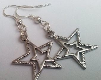 Silver Star Earrings , Celestial Earrings , Silver Earrings , Shooting Star , Handmade Jewelry , Handmade Jewellery , Dangling Earrings