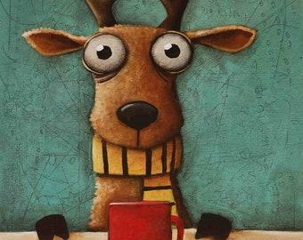 Original Painting, deer, stag, Ivan Glock 70x50