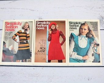 Set of 3 Simplicity Fashion News Mini Magazines from 1972-October-December-70s Fashion Magazines-Sewing Inspiration