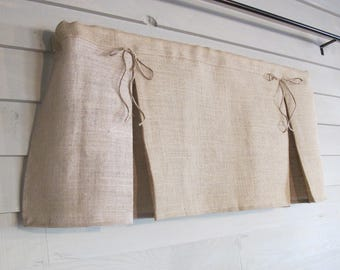 Pleated Burlap Valance with Jute Bows Window Treatment Natural Rustic Curtain