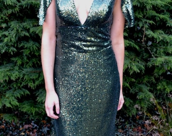 Custom made vintage inspired 'Claudia' sequin mermaid gown with capelet shoulder sleeves for weddings & formals. Green, gold, rose and more!