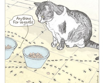 Cats print - Anything for Vegans? in English -  featuring Spageti, the famous Israeli cat from Ha'aretz Newspaper Comics