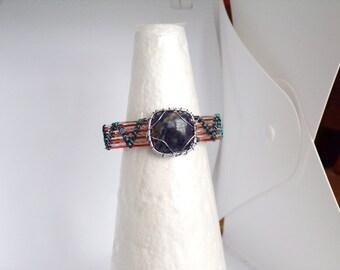 Blue Sodalite Wire Wrapped Cuff Bracelet, Gemstone Cuff Bracelet, Woven Bracelet