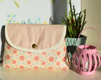 Handmade makeup bag, vintage floral design makeup bag with attached brush roll.