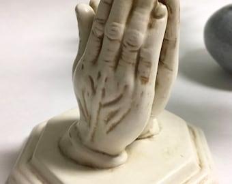 Beautiful Vintage Ceramic Praying Hands Statue