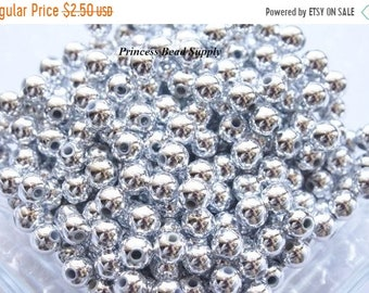 SALE 100 6mm Silver Plated Round Spacer Beads, Chunky Necklace Spacer Beads