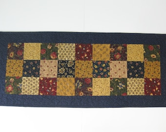 """Quilted Table Runner, Patchwork Table Runner, 13 1/4"""" X 31 1/4"""""""