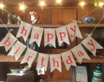 Burlap Happy Birthday Banner
