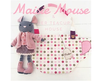Small Mouse Doll 'Maisie' with Clothes, Accessories and Teacup Carry House PDF Sewing Pattern