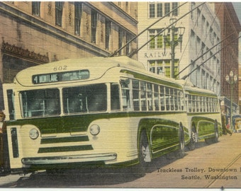 TracklessTrolley Bus Downtown SEATTLE Washington State Vintage Linen POSTCARD Post Card