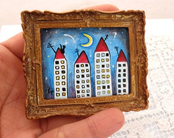 "Original Miniature Acrylic Painting for Dollhouse or Collection ""Houses"" Colorful Primitive Art"