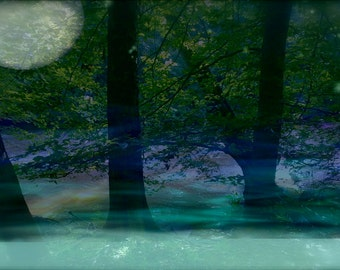 Moon Meets River print , altered photography, forest