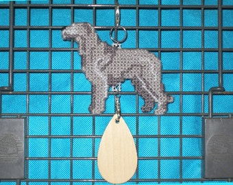 Irish Wolfhound crate tag hang anywhere home decor, hand stitched needlepoint art, Magnet option
