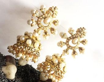 PEARL JHUMKA Earrings,Pearl &Gold Jhumkas,Dome earrings,Indian bell Chandelier earrings wedding jewelry handmade by TANEESI YJ240P
