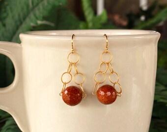 Goldstone Earrings, Sandstone Earrings, Gold, Burnt Orange Earrings, Sandstone Drop Earrings, Dangle, Goldstone Gold Earrings, Free Shipping