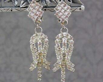 Vintage Clear Rhinestone Silver Long Clip On Earrings