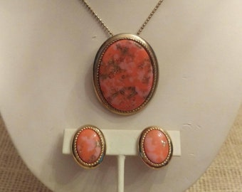 "Vintage Clip On Earrings and Large Pendant - ""Coraline"" by Sarah Covenant - faux coral with golden specks"