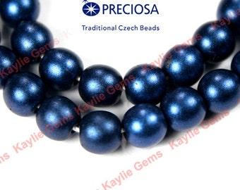 "16"" Strand Czech Beads Pressed Glass Druk 6mm Round Opaque Dark Blue Satin"