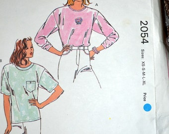 Sewing Pattern Kwik Sew 2054 Misses' Shirts Size XS-XL Bust 31-45  inches  Uncut Complete