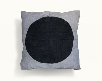 "Eco-friendly upcycled ""boyfriend jeans"" denim pillow with recycled water bottle fiber backing - free shipping in USA"