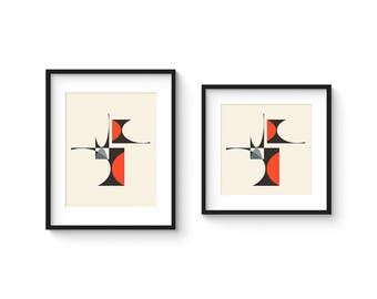 CUBIST no.1 - Giclee Print - 8x10 or 8x8 Format - Mid Century Modern Cubist Modernist Abstract
