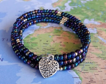 Iridescent Black Seed Bead Memory Wire Bracelet-Memory wire-Coil Bracelet-Cuff Bracelet