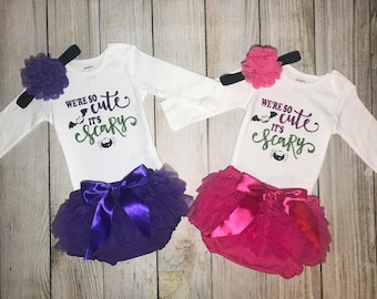 Twin Halloween Outfit - We're so cute it's scary - Matching Halloween outfits
