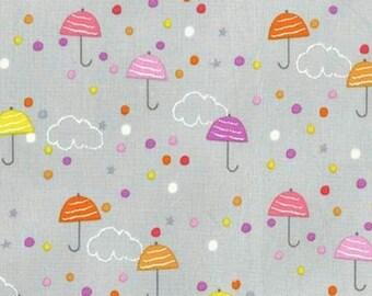 Pitter patter fabric - umbrellas - grey