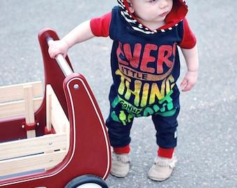 Reggae, baby Romper, custom romper, upcycled clothing, one love, custom baby gift, handmade baby clothes, baby bodysuit, unity, marley