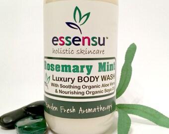 Rosemary Mint Aromatherapy Organic Aloe Vera Soy Oil Moisturizing Botanical Body Wash | Dry and Sensitive Skin Formual | No Sulfates - 9 oz
