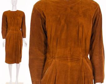 COGNAC Brown Dress Suede Leather Dress MINIMALIST Leather Vintage Dress Medium