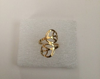 Golden Leaf Stainless Steel Ring