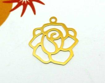Set of 4 Fine gold - 14 mm filigree flower charms