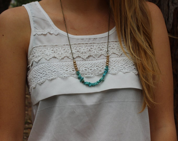 Turquoise Chip and Sandy Pearl Antiqued Bronze Boho Necklace.