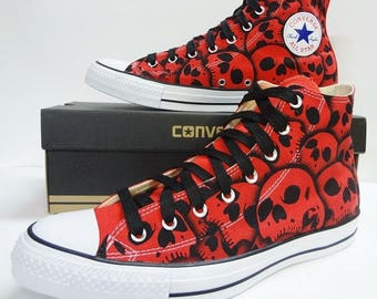 Skull shoes Converse - All sizes all colors made to order Hand painted by RokGear