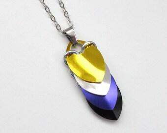 Non-binary pendant necklace, chainmail scale pendant, pride jewelry; yellow, white, purple, black