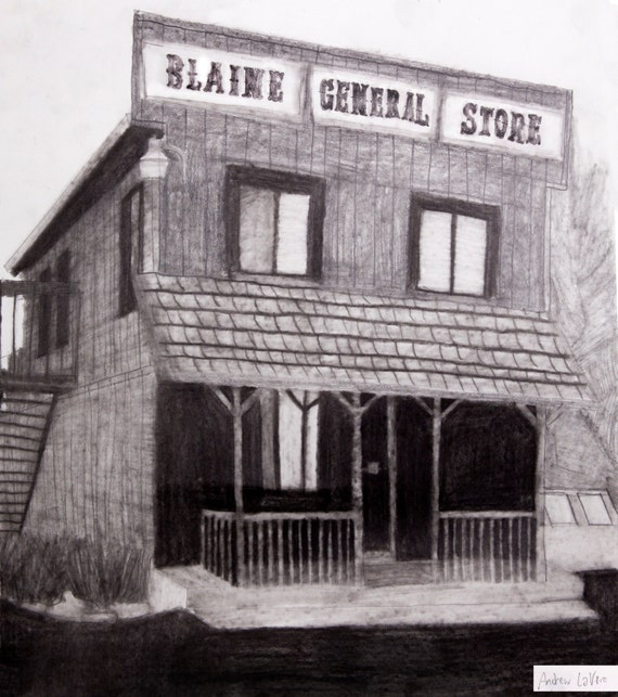 "Note Cards ""Blaine General Store"" Original Drawing by Andrew LaVere (5 Cards)"