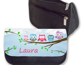 Personalised Girls Owl Pencil Case Make Up Bag Back To School