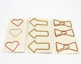 Planner Paper Clips. Heart Paper Clips. Bow Paper Clips. Arrow Paper Clips.