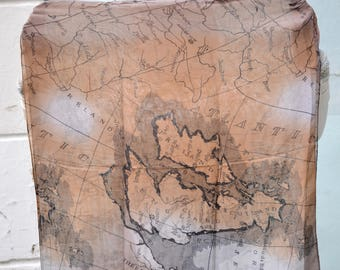 Infinity shawl scarf, World Map, Scarf travel map, Bohemian crinkle, lightweight wrap shrug, Women Accessories,