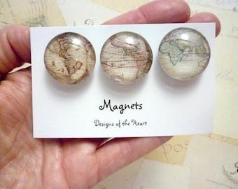 Round Glass Magnet set - Vintage Maps