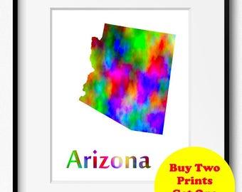 Arizona State Map Watercolor Art Print (065)