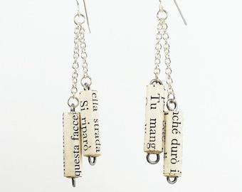 Italian Jewelry, Paper Bead Jewelry- Italian Paper Bead Earrings, Silver Chain Earrings, Paper Jewelry, Book Lover Gift, Word Jewelry