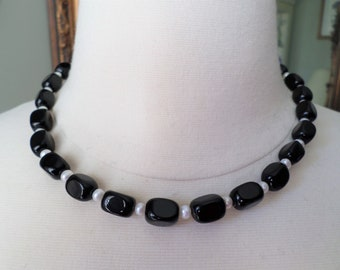 Sterling Silver 925 Clasp, Black Glass Beads and Pearls Choker Necklace.