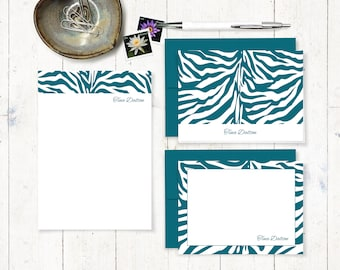 complete personalized stationery set - ZEBRA PRINT - animal print stationary set - note cards - notepad - custom gift set