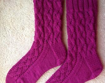 Hand Knit Womens Cashmere-Wool Blend Socks (S-254)