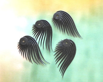 Black Leaf Bead, Vintage Lash shaped Bead,  Soft Plastic Bead, Vintage Leaf Pendant, 4