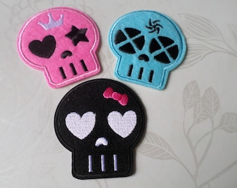 x 3 mixed applique badge patch fusible skull patterned 3 color 6.5 x 6 cm